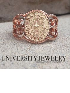 Baylor University class seal ring #42 in rose gold and yellow gold. Made by University Jewelry at San Jose Jewelers in Waco, Texas.