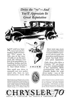"Chrysler ""70"" Ad (July, 1927): Charm - Illustrated by Fred Cole"