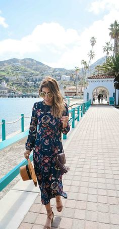 floral midi-dress for beach vacay