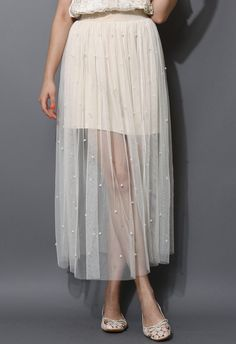 Ivory Pearl Tulle Maxi Skirt