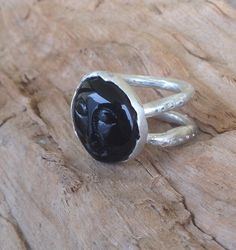 Carved black moon ring luna ring whole moon black by RingTheRing
