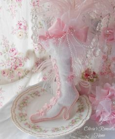 Pink Princess Victorian Boot Stocking Marie Antoinette Shabby Chic Christmas White French Lace