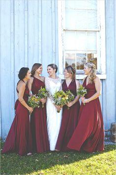 Fall Bridesmaid Idea: Floor length burgundy bridesmaid dresses.