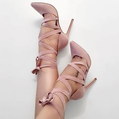 The blush color is absolutely beautiful on the Mishie heels!