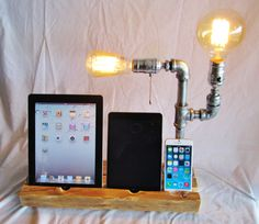 iPhone Stand Docking Station with Vintage Lamp by EastCoastRustic