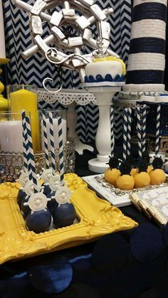 Nautical baby shower party cake pops! See more party planning ideas at CatchMyParty.com!