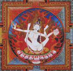 Sukhasiddhi (detail) from The Celestial Gallery by Romio Shrestha. Sukhasiddhi é uma mulher importante dentro do Vajrayāna (linha tântrica do budismo). Só o que sei por hora.