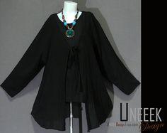 Hand Dyed Black Long Sleeve Jacket by HippieGypsyBohemian on Etsy, $32.00