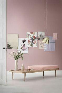 minimalistisches Möbeldesign Wandfarbe rosa