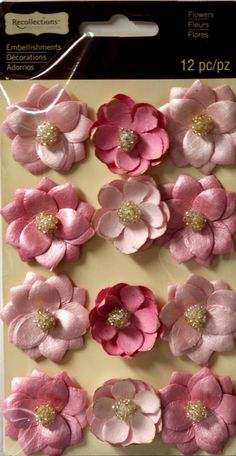 Recollections Beaded Pink Paper Flowers Embellishments