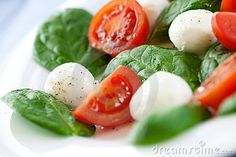 Salad From Spinach, Tomatoes And Mozzarella Stock Photo - Image ...