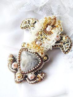 Bead embroidered ivory brooch Fleur de lis II  by MadameElegant, $116.00
