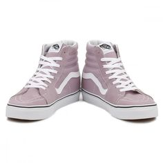 Vans Womens Lilac SK8-Hi Trainers ($85) ❤ liked on Polyvore featuring shoes, sneakers, vans trainers, lilac shoes, vans footwear, vans shoes and vans sneakers