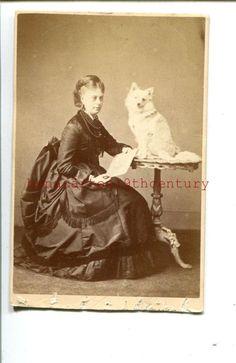 CDV SPITZ DOG & Lady Owner 1860s  CDV by Elliott & Fry London PHOTOGRAPH