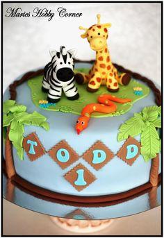 Jungle cake - Jungle cake, zebra and giraffe.