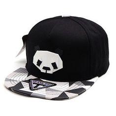 Mens Womens Paper Folding Origami Baseball Cap Snapback Hats PANDA BLACK