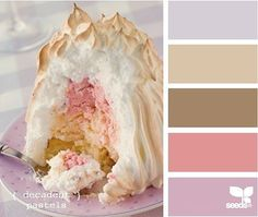 decadent pastels - It is not enough that it is a beautiful palette, it is from a beautiful and yummy looking dessert! Colour Pallette, Colour Schemes, Color Combos, Design Seeds, Colour Board, World Of Color, Color Stories, Pretty Pastel, Color Swatches