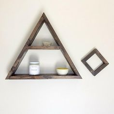 The Triangle Shelf Rustic Decor, Small Potted Plants, Staining Wood, Rustic Wall Decor, Geometric Shelves, Entryway Wall Decor, Triangle Shelf, Stud Walls, Modern Shelving