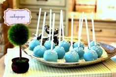 tiffany blue wedding cake pops. Haha my mom will never make cake pops again :)