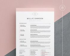 Professional Resume Template 1 and 2 Page Resume Modern CV Cover Letter Template, Cv Template Word, Cover Letter Design, Cv Cover Letter, Resume Templates, Cover Design, Adobe Indesign, Adobe Photoshop, Microsoft Word