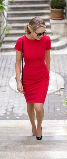 Street style   Classic red dress with black heels and glasses