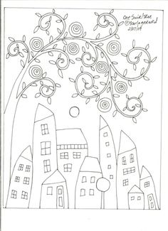 RUG HOOK CRAFT PAPER PATTERN One Swirl Tree FOLK ART ABSTRACT houses KARLA G #KarlaGerard
