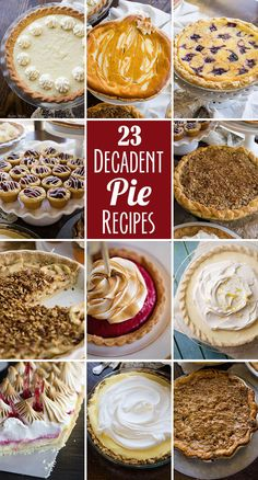 A collection of 23 recipes for the most delicious pies (and tarts) you've ever seen. Easy Holiday Desserts, Holiday Pies, Christmas Desserts, Just Desserts, Pies For Thanksgiving, Christmas Pies, Christmas Holiday, Holiday Recipes, Tart Recipes