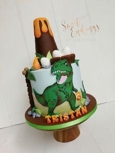 Three-riffic T-Rex! - cake by Lulu Goh Three-riffic T-Rex! - cake by Lulu Goh Dinasour Birthday Cake, 3rd Birthday Cakes, Dinosaur Birthday Party, 4th Birthday, T Rex Cake, Dino Cake, Bolo T Rex, Jurassic World Cake, Savoury Cake