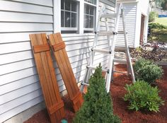DIY Wood Shutters — Copper Dot Interiors Rustic Shutters, Wood Shutters, Teak Oil, Outdoor Chairs, Outdoor Decor, Curb Appeal, Mother Nature, Facade