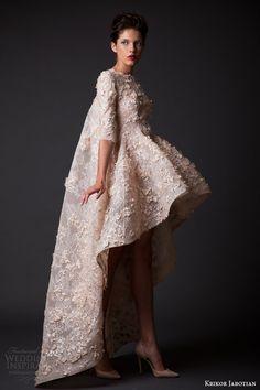 krikor jabotian fall winter 2014 2015 amal short mullet high low short wedding dress sleeves side view cape