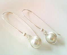 Wire Wrapped Pearl Earrings by GrecoGirlJewelry on Etsy, $8.50