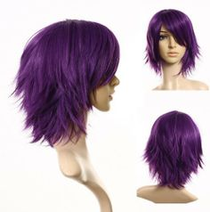 Cosplayland - C197 40cm layered flip out heat-resist Theater Cosplay Wig - Purple by Cosplayland. $29.00. in purple, about 40cm, layeredthe fiber of this wig is heat-resistant up to 200°C.  You can styling this wig by youself with blow dryer, straighteners or curlers without damaging it with a extremely comfortable stretch fit cap and adjustable bands to fit average head sizes. (up to 60cm head circumference)