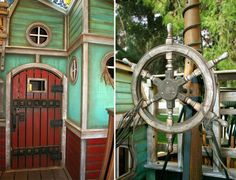 Another view of the pirate ship playhouse.