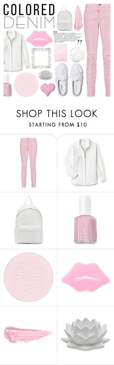 """""""contest: spring trend... coloured denim - 20170412"""" by catharine-polyvore ❤ liked on Polyvore featuring Current/Elliott, Lacoste, Joshua's, Essie, Paul & Joe, By Terry, Godinger and Saturday Skin"""