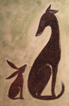 Hound and Hare Fine Art Print by Deborah Sheehy~ HoneybeeandtheHare on Etsy