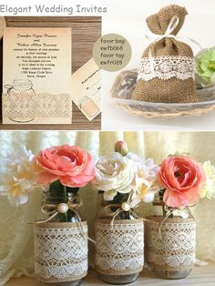 rustic vintage burlap lace mason jar favors, invitations & decorations