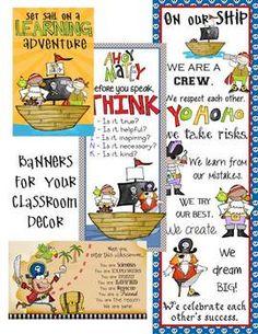 PIRATES - CLASSROOM DECOR - BINDER COVERS, BANNERS, POSTERS, CLIP CHAR - TeachersPayTeachers.com
