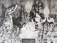 """""""Affrontement II"""" Encre / papier 12P (61 x 46) 07/1998 inachevé"""