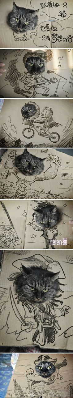 if your cat seems to always find the need to get inside boxes you really should cut a hole in the sides and draw a scene.