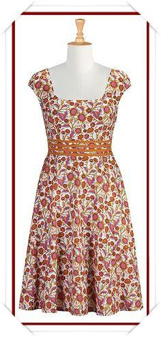 Floral vine print cotton dress
