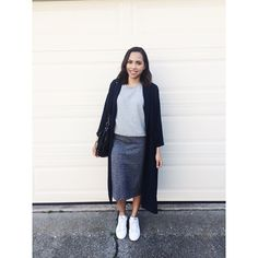 Sweatshirt and Midi Skirt with Adidas Stan Smith OOTD #monkistyle