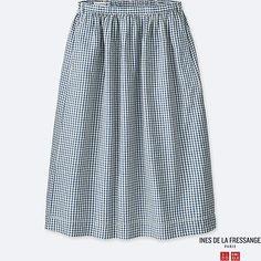 25f79e02af1b5 WOMEN IDLF COTTON LINEN GATHERED SKIRT, BLUE, large Rock, Minimalist  Wardrobe, Parisian. Uniqlo US