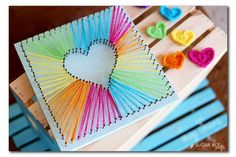 """Best DIY Rainbow Crafts Ideas - Heart String Art - Fun DIY Projects With Rainbows Make Cool Room and Wall Decor, Party and Gift Ideas, Clothes, Jewelry and Hair Accessories - Awesome Ideas and Step by Step Tutorials for Teens and Adults, Girls and Tweens http://diyprojectsforteens.com/diy-projects-with-rainbows"""""""