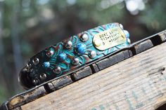 Turquoise Leather Dog Collar Studs personalized by theDiamondDogs