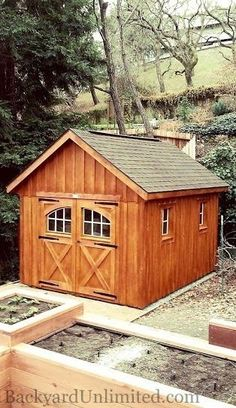 10'x12' Garden Shed with Board & Batten Siding, Cedar Stain, Carriage House Doors and Ridge Vent--Lafayette, CA http://www.backyardunlimited.com/sheds.php