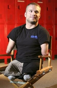 """Kyle Maynard gives new meaning to the word """"inspiration"""". Born with no arms or legs, he has managed to over come his disability and play sports, wrestle, compete in MMA and is now planning to climb Mt. Kilaminjaro."""