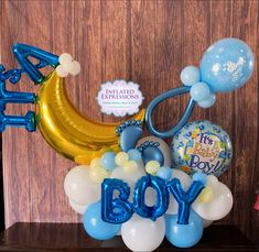 Baby Boy Balloons, Baby Shower Balloons, Baby Shower Themes, Congratulations Baby Boy, Torta Baby Shower, Birthday Balloon Decorations, Balloon Arrangements, Balloon Gift, Star Baby Showers