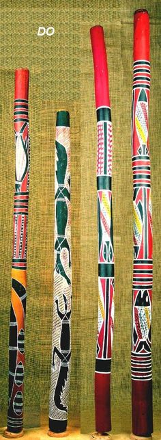 """Instruments Australia The DIDGERIDOO is considered the oldest wind instrument in the world. The drawn-out, vibrating, deep resonance of the didgeridoo cast an enchanting spell on everyone who hears it. The versatility of expression is awesome. Our DIDGERIDOOS are available in plain wood (DU) or painted in the traditional way with traditional ochre (DO) or with contemporary paints (DA). Many of the motifs are """"dreamings"""", or visionary images that came to the artists who paint them"""