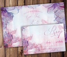 Purple and Pink Watercolor Wedding Invitation by SixDaysCreations