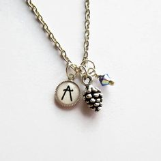 Pine Cone, Birthstones, Annie, Swarovski Crystals, Initials, My Etsy Shop, Pendant Necklace, Trending Outfits, Unique Jewelry